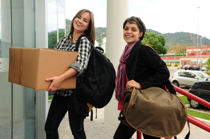 Students Moving Into College Dorm