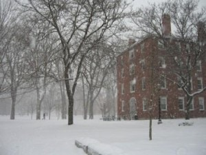 Winter scene outside my daughter's dorm.