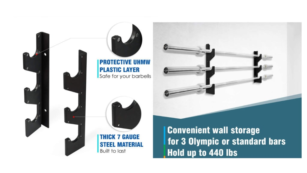 Yes4All Wall Mounted Olympic Barbell Rack